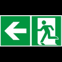 Rettungszeichen ISO 7010 / E001 Rettungsweg links nachleuchtend