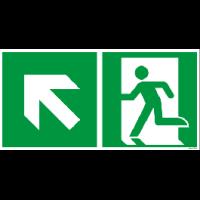 Rettungszeichen ISO 7010 / E001 Rettungsweg links aufwärts nachleuchtend