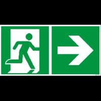 Rettungszeichen ISO 7010 / E001 Rettungsweg rechts nachleuchtend