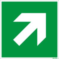 Rettungszeichen ISO 7010 / E864 Richtungsangabe schräg  nachleuchtend