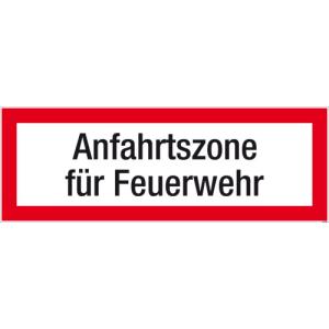 Textschild Anfahrtszone für FW