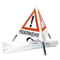 Klett-Faltsignal, 700 mm, Tagesleuchtfarbe, 3 x Feuerwehr