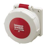 Mennekes CEE-Anbausteckdose gerade, IP67, rot/grau