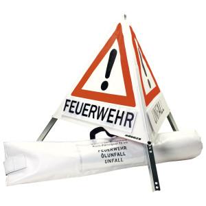 Klett-Faltsignal, 700 mm, retroreflektierend, 3 x Feuerwehr