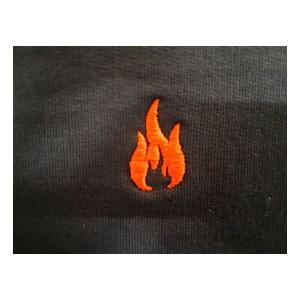 Sweatshirt, 1/1 Arm, marineblau mit roter Flamme